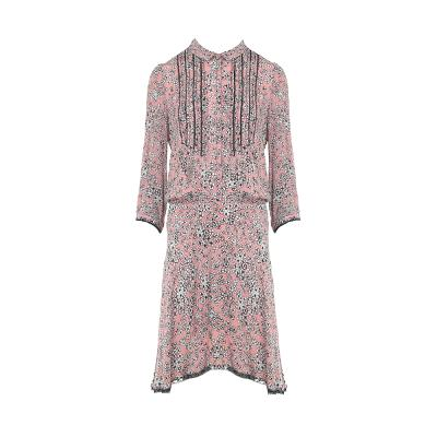 flower pattern pin-tuck detail dress
